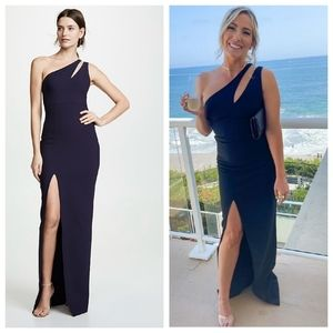 LIKELY Roxy Navy Blue One Shoulder Maxi Dress
